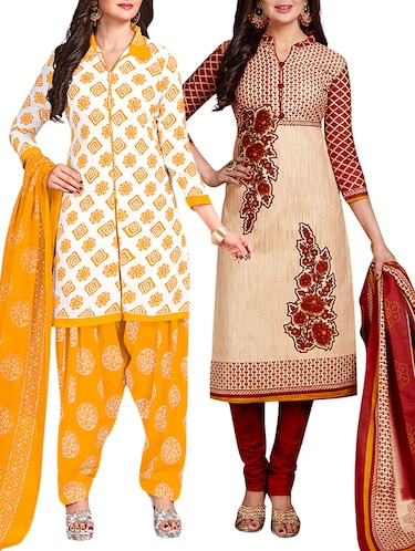 multi colored unstitched combo suit - 15344657 - Standard Image - 1
