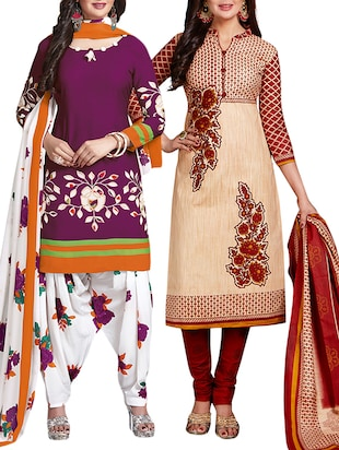 multi colored unstitched combo suit - 15344662 - Standard Image - 1