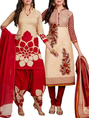multi colored unstitched combo suit - 15344674 - Standard Image - 1