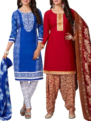 multi colored unstitched combo suit - 15344679 - Standard Image - 1
