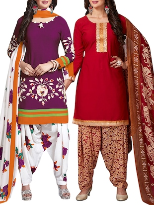 multi colored unstitched combo suit - 15344691 - Standard Image - 1