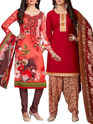 multi colored unstitched combo suit - 15344693 - Standard Image - 1