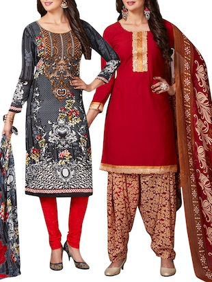 multi colored unstitched combo suit - 15344695 - Standard Image - 1