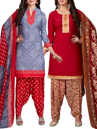 multi colored unstitched combo suit - 15344697 - Standard Image - 1