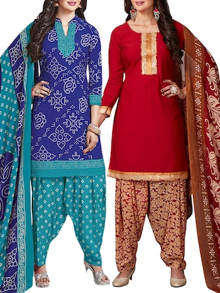 multi colored unstitched combo suit - 15344698 - Standard Image - 1