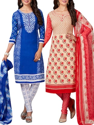 multi colored unstitched combo suit - 15344720 - Standard Image - 1