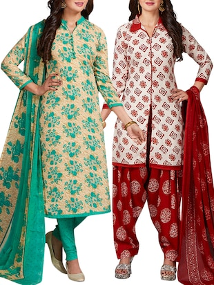 multi colored unstitched combo suit - 15344740 - Standard Image - 1