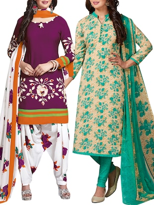 multi colored unstitched combo suit - 15344746 - Standard Image - 1