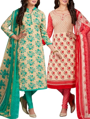 multi colored unstitched combo suit - 15344747 - Standard Image - 1