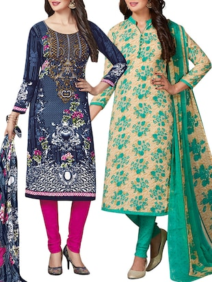 multi colored unstitched combo suit - 15344751 - Standard Image - 1