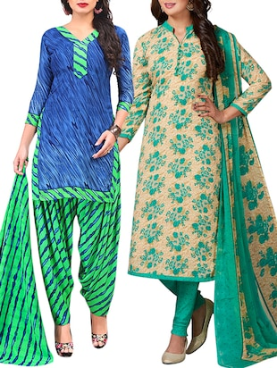 multi colored unstitched combo suit - 15344756 - Standard Image - 1