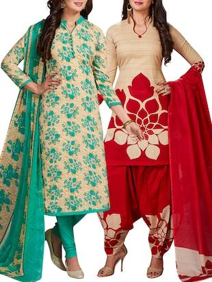 multi colored unstitched combo suit - 15344758 - Standard Image - 1