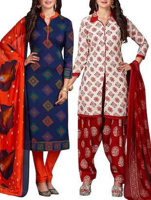 multi colored unstitched combo suit - 15344791 - Standard Image - 1