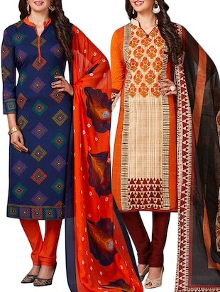 multi colored unstitched combo suit - 15344794 - Standard Image - 1