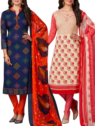 multi colored unstitched combo suit - 15344798 - Standard Image - 1