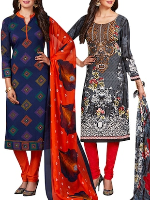 multi colored unstitched combo suit - 15344801 - Standard Image - 1