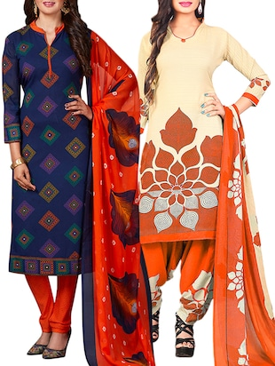 multi colored unstitched combo suit - 15344810 - Standard Image - 1