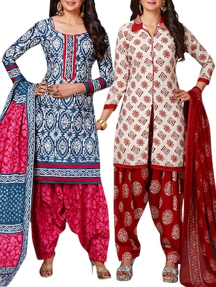 multi colored unstitched combo suit - 15344815 - Standard Image - 1