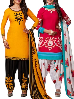 multi colored unstitched combo suit - 15344843 - Standard Image - 1