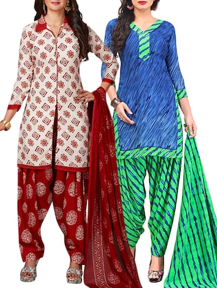 multi colored unstitched combo suit - 15344876 - Standard Image - 1