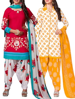 multi colored unstitched combo suit - 15344886 - Standard Image - 1