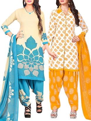 multi colored unstitched combo suit - 15344901 - Standard Image - 1