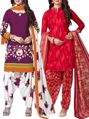 multi colored unstitched combo suit - 15344907 - Standard Image - 1