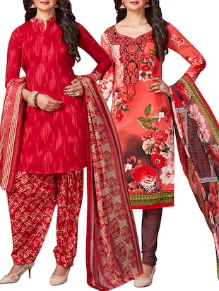 multi colored unstitched combo suit - 15344909 - Standard Image - 1