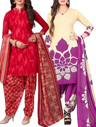multi colored unstitched combo suit - 15344923 - Standard Image - 1