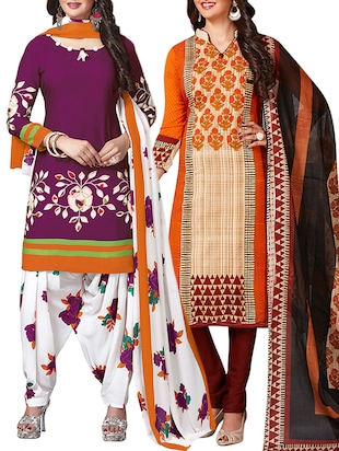 multi colored unstitched combo suit - 15344926 - Standard Image - 1