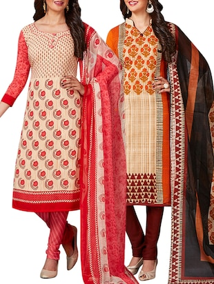 multi colored unstitched combo suit - 15344927 - Standard Image - 1