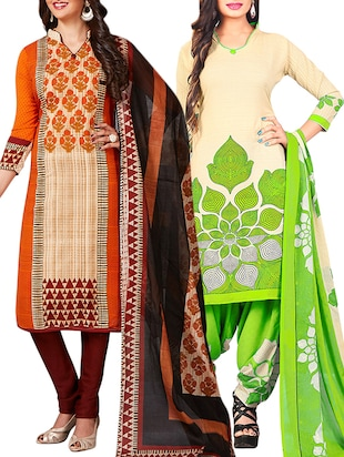 multi colored unstitched combo suit - 15344941 - Standard Image - 1
