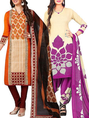multi colored unstitched combo suit - 15344942 - Standard Image - 1