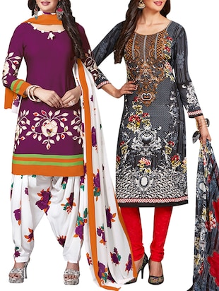 multi colored unstitched combo suit - 15344981 - Standard Image - 1