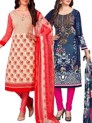 multi colored unstitched combo suit - 15344997 - Standard Image - 1