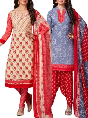 multi colored unstitched combo suit - 15344998 - Standard Image - 1