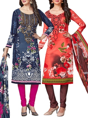multi colored unstitched combo suit - 15345011 - Standard Image - 1