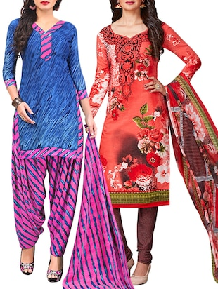 multi colored unstitched combo suit - 15345015 - Standard Image - 1