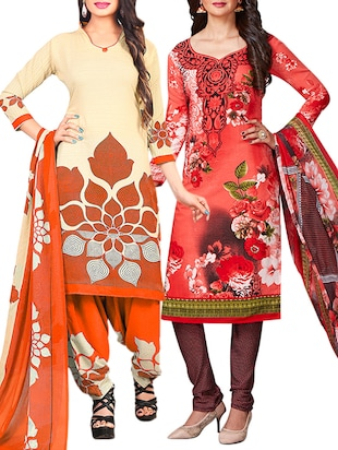 multi colored unstitched combo suit - 15345019 - Standard Image - 1