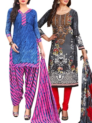 multi colored unstitched combo suit - 15345040 - Standard Image - 1