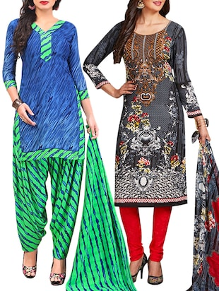 multi colored unstitched combo suit - 15345041 - Standard Image - 1