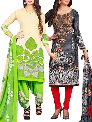 multi colored unstitched combo suit - 15345046 - Standard Image - 1