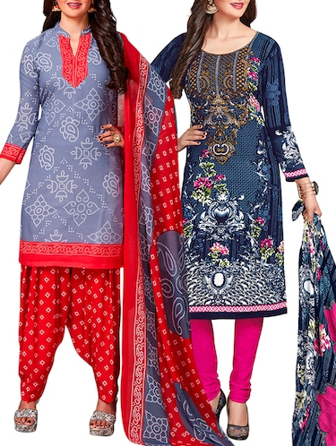 multi colored unstitched combo suit - 15345048 - Standard Image - 1