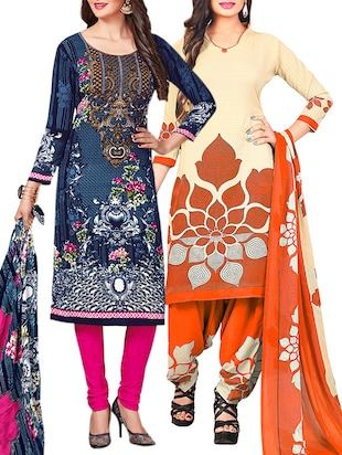 multi colored unstitched combo suit - 15345055 - Standard Image - 1