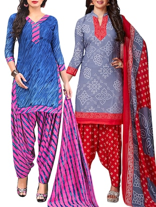multi colored unstitched combo suit - 15345061 - Standard Image - 1