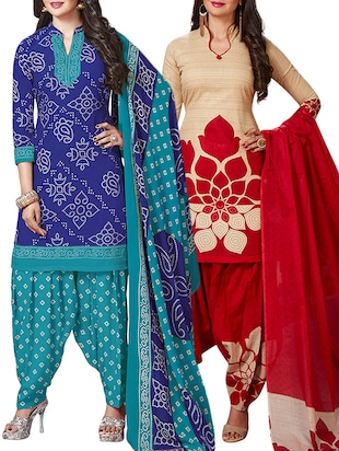 multi colored unstitched combo suit - 15345073 - Standard Image - 1