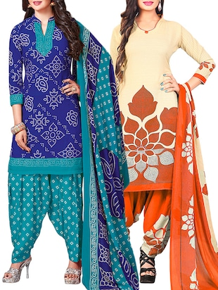 multi colored unstitched combo suit - 15345074 - Standard Image - 1