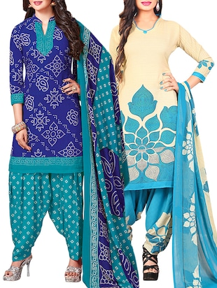 multi colored unstitched combo suit - 15345075 - Standard Image - 1