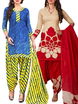 multi colored unstitched combo suit - 15345081 - Standard Image - 1