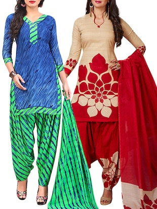 multi colored unstitched combo suit - 15345094 - Standard Image - 1